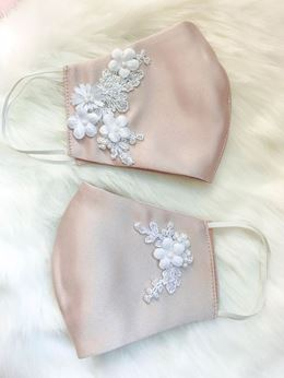 Picture of FLORAL EMBELLISHED MASK - TAUPE BLUSH